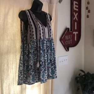 Sleeveless babydoll shirt boho Large